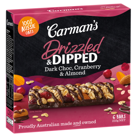 Drizzled & Dipped Dark Choc, Cranberry & Almond Bars