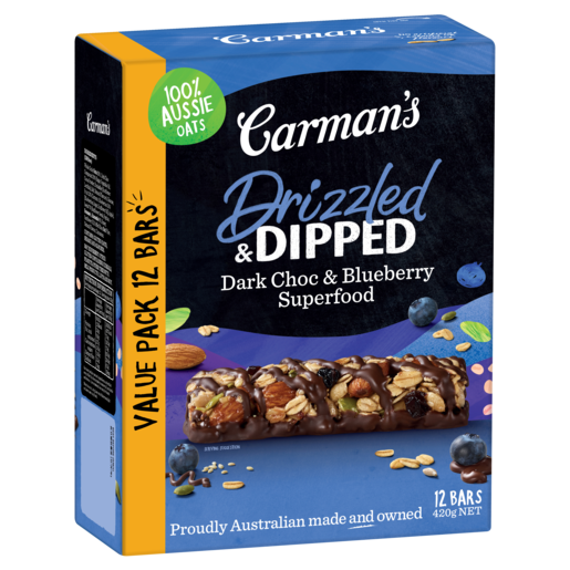 Drizzled & Dipped Dark Choc & Blueberry Superfood Bars