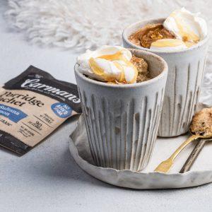A photo of an oat mug recipe using carman's porridge sachets