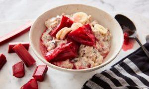 gluten free bircher with stewed rhubarb and banana