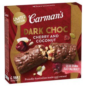 Carman's Dark Choc Cherry & Coconut Muesli Bars Limited Edition