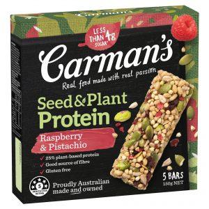 Carman's Raspberry & Pistachio Seed & Plant Protein Bars