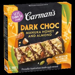 Carman's Dark Choc Manuka Honey and Almond Bars