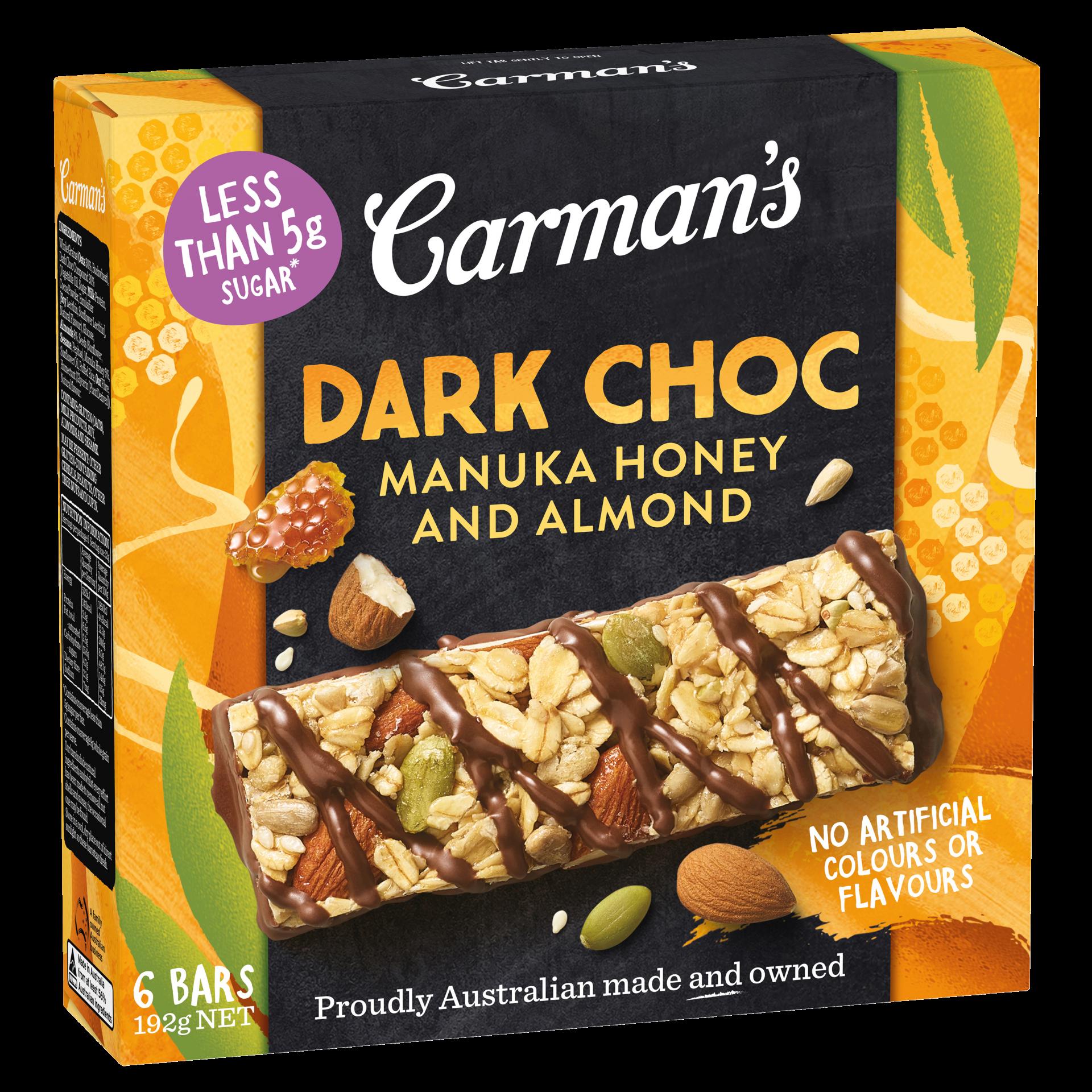 Dark Choc Manuka Honey and Almond Muesli Bars