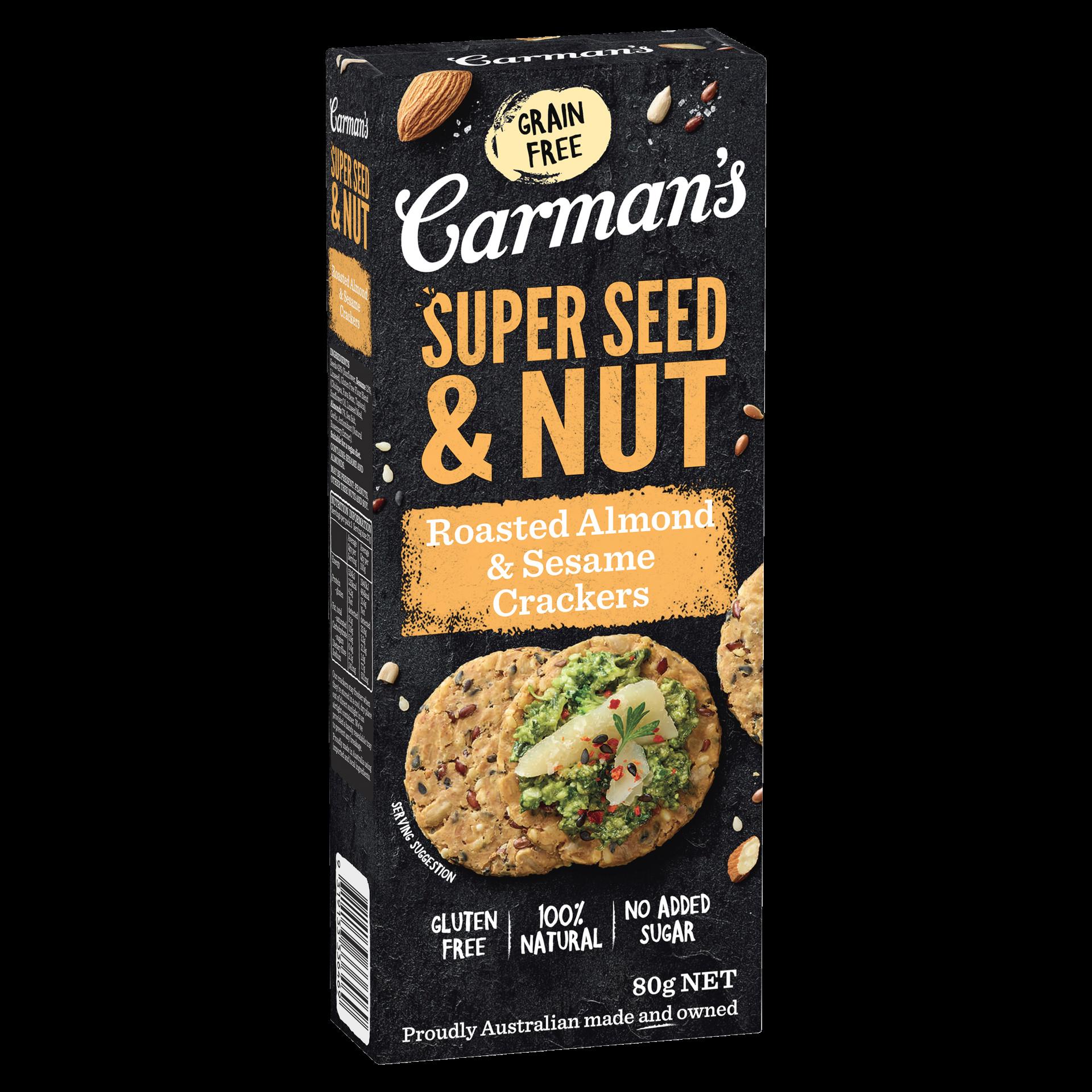 Gluten-Free Roasted Almond & Sesame Super Seed & Nut Crackers
